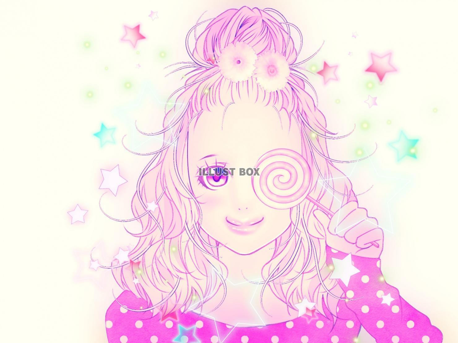 無料イラスト てっぺんお団子ヘアの女の子(ゆめかわいい加工)