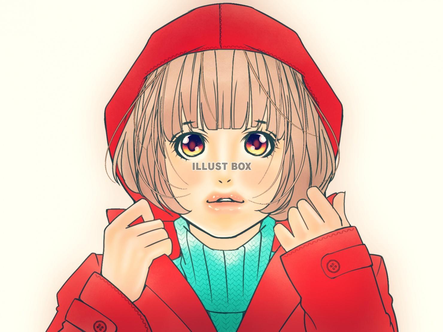 無料イラスト 真っ赤なコートにフードをかぶった女の子