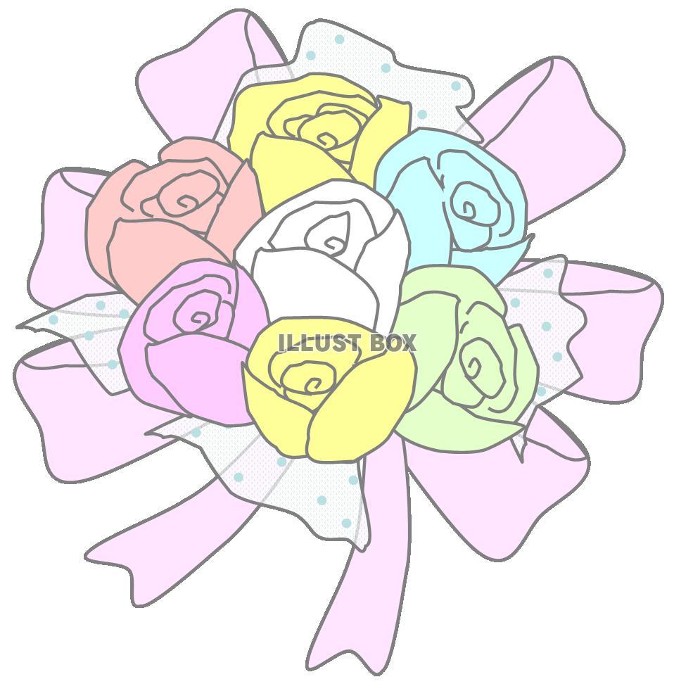 無料イラスト ウエディングブーケバラの花束