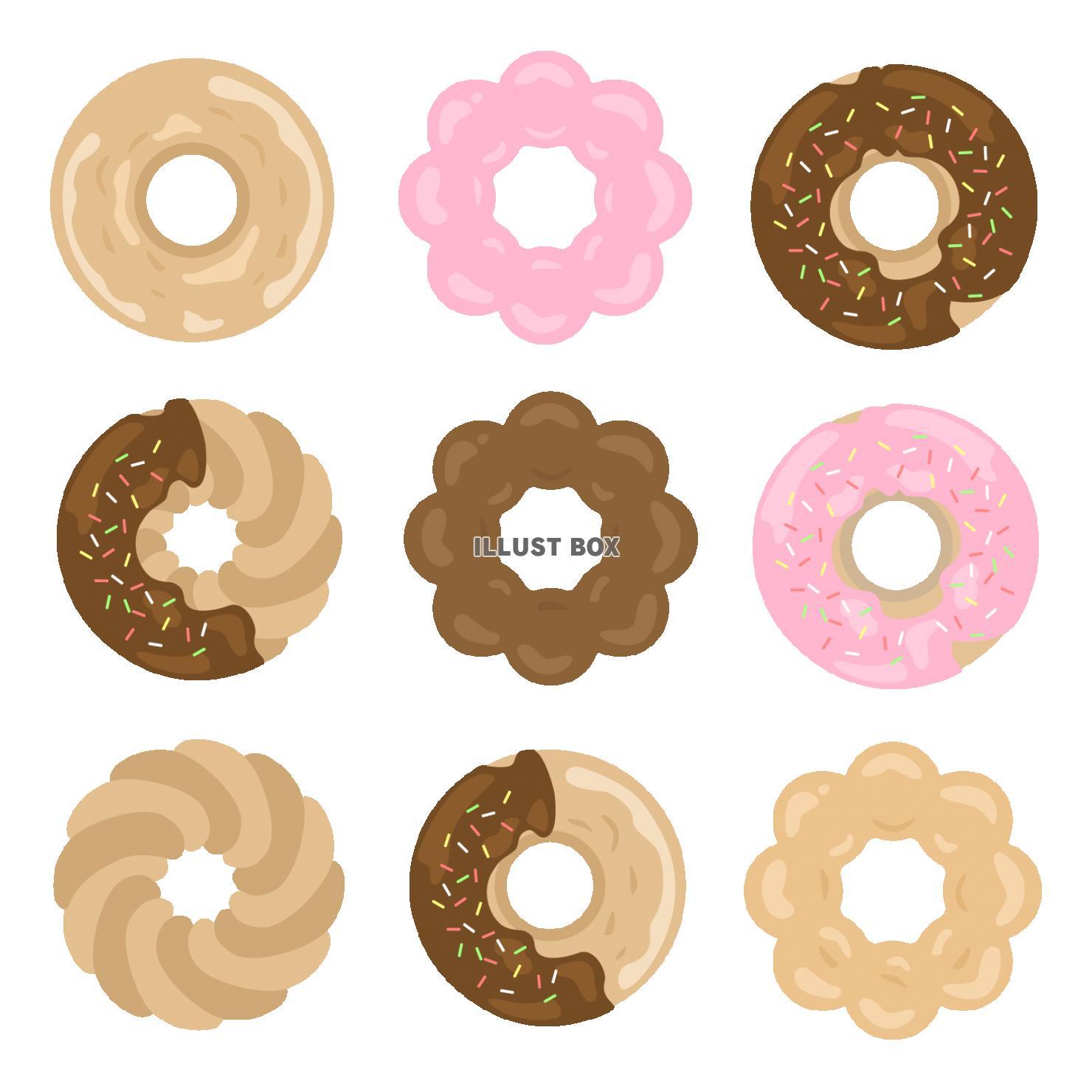 無料イラスト ドーナツのイラストセット