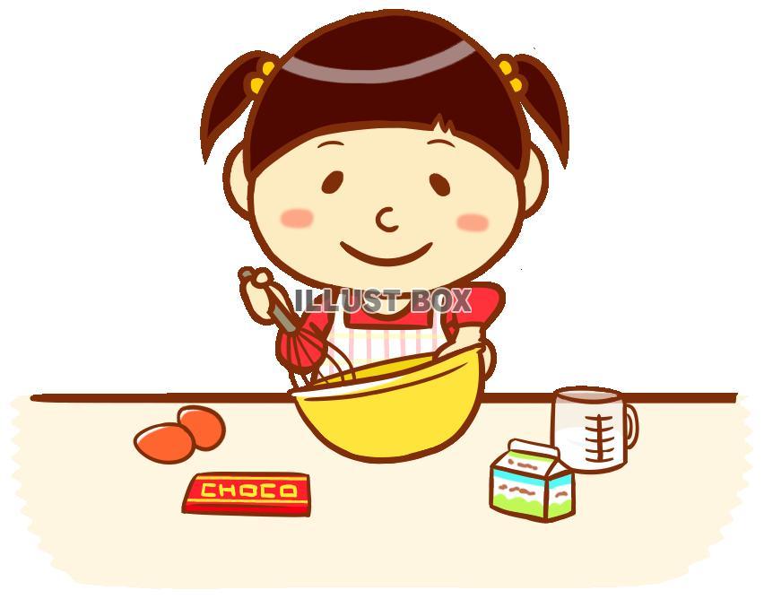 無料イラスト お菓子作りをする女の子