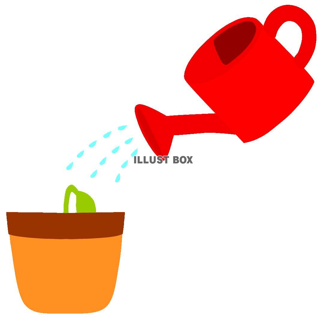 無料イラスト じょうろで水やり発芽 ガーデニング園芸育てる