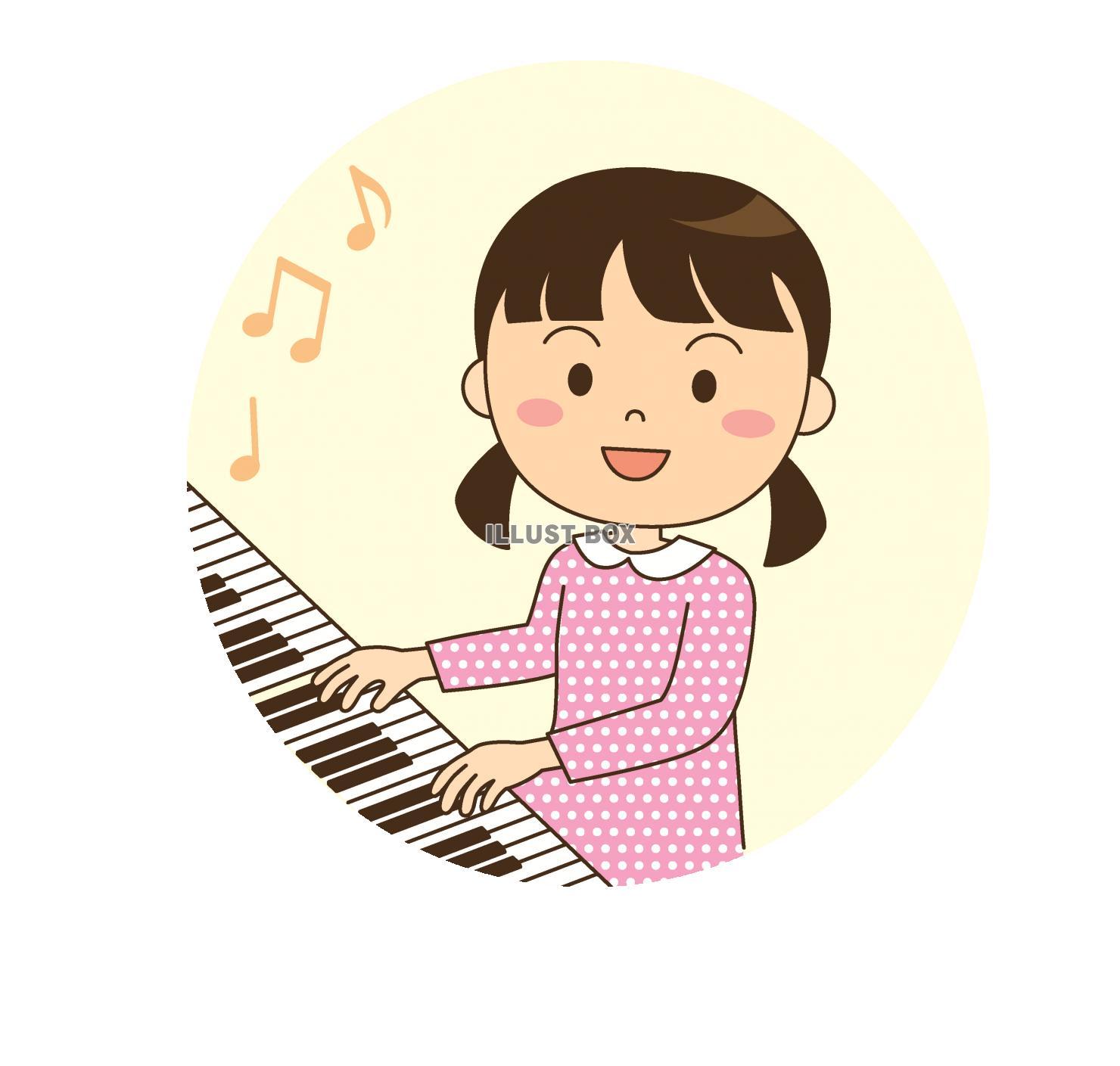 無料イラスト ピアノ演奏女の子