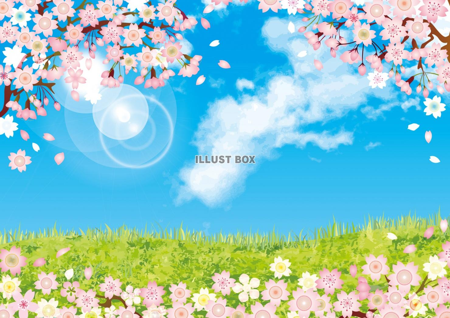 無料イラスト 桜 春 三月 四月 空 背景 満開 青空 散