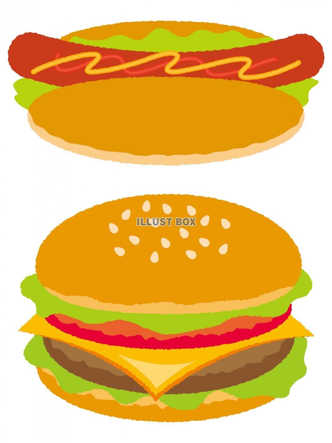 無料イラスト ハンバーガーとホットドッグ