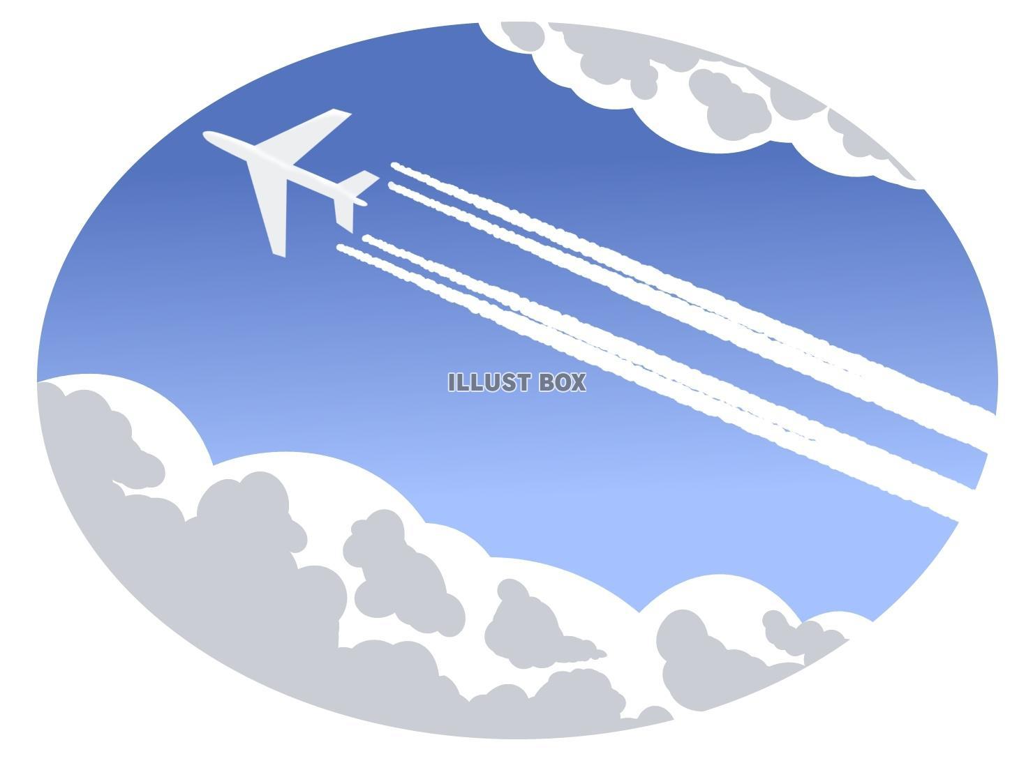 無料イラスト 飛行機雲