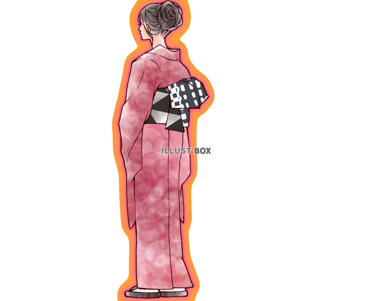 無料イラスト 着物の後ろ姿の女性