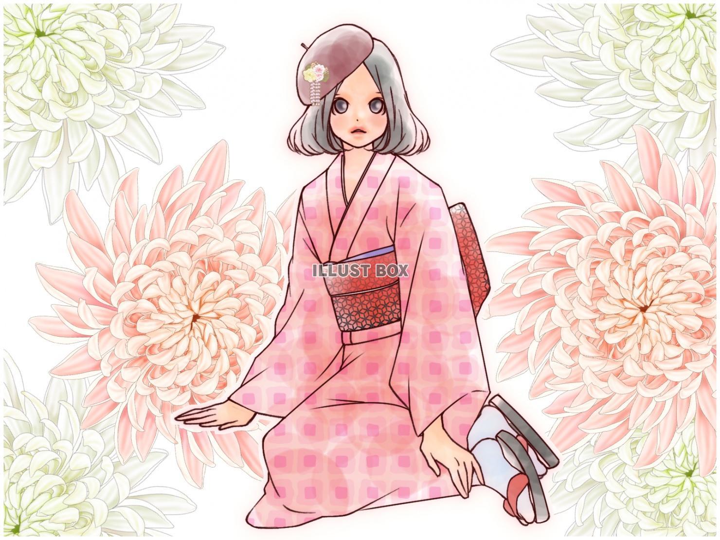 【トップセレクション】 着物 の 女の子 イラスト - 壁紙 ...