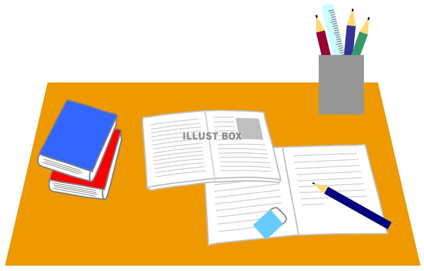 無料イラスト 勉強机 受験学習自主勉強宿題文房具