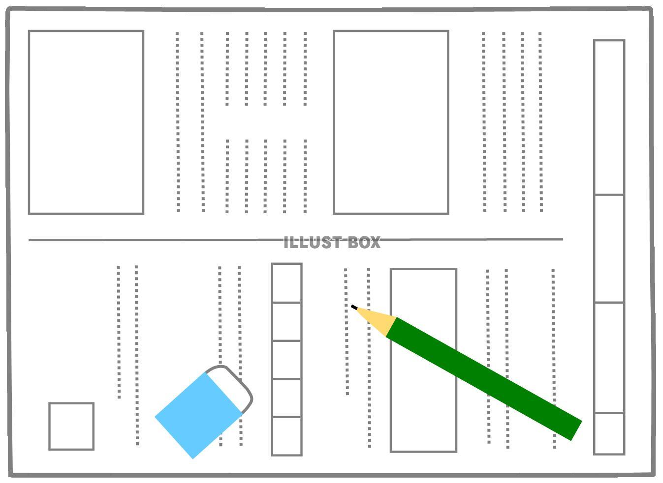 無料イラスト テスト用紙・宿題プリント2 (受験勉強、学習、授業、鉛筆