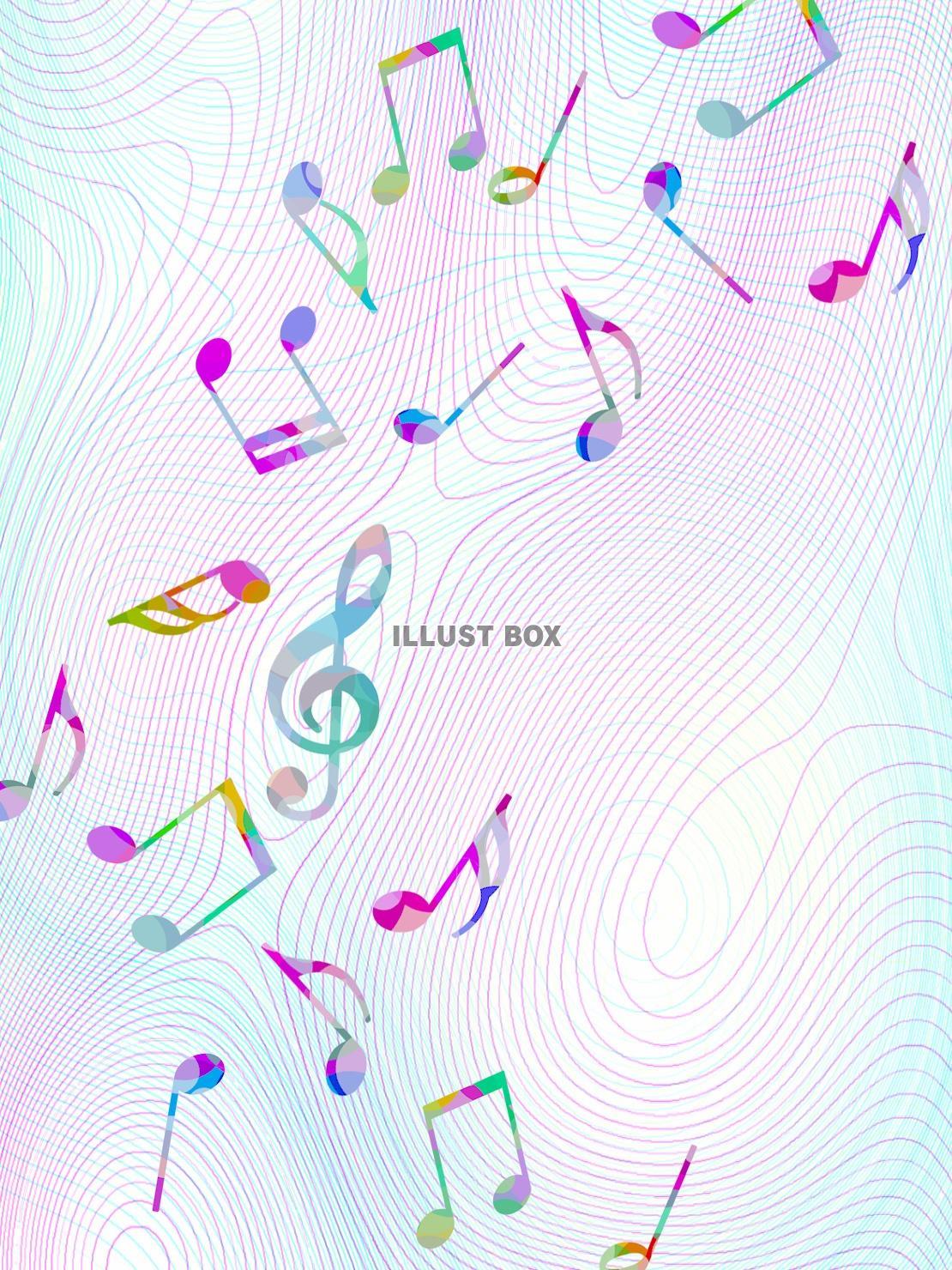 無料イラスト 音符の壁紙カラフルな音楽背景イラスト素材