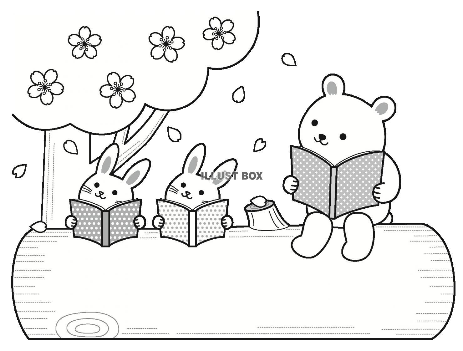 無料イラスト 森の動物の読書の文字枠(春)