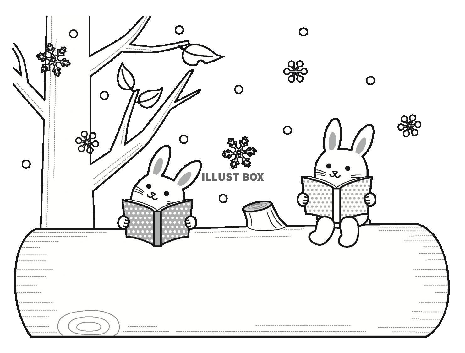 無料イラスト 森の動物の読書の文字枠(冬)