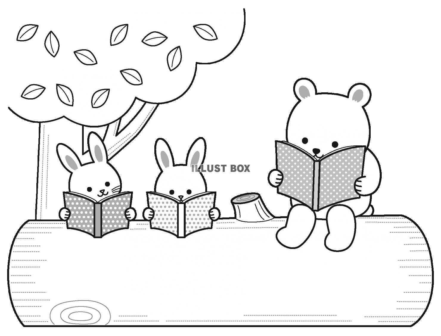 無料イラスト 森の動物の読書の文字枠(季節はいつでも)