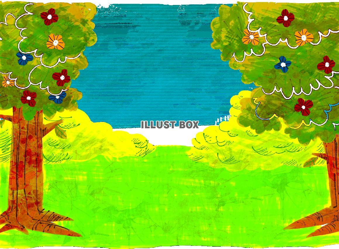 無料イラスト 手描き風の森 風景 2