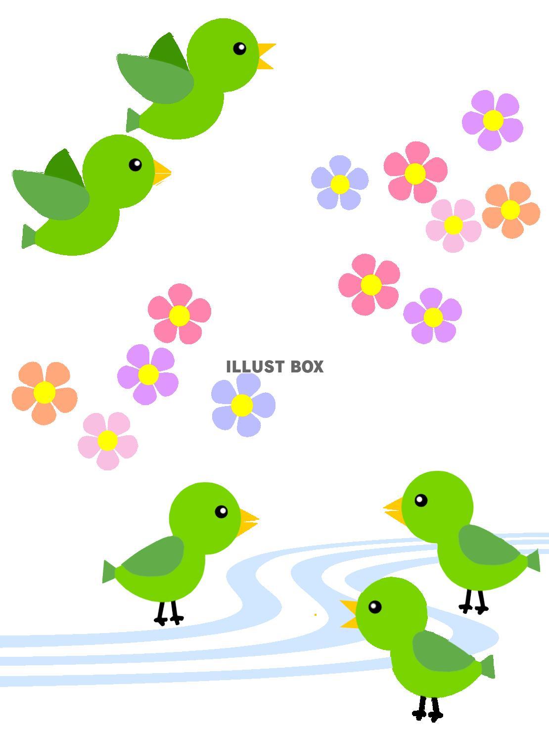 無料イラスト 小鳥と花模様の背景イラスト可愛い壁紙素材。透過png