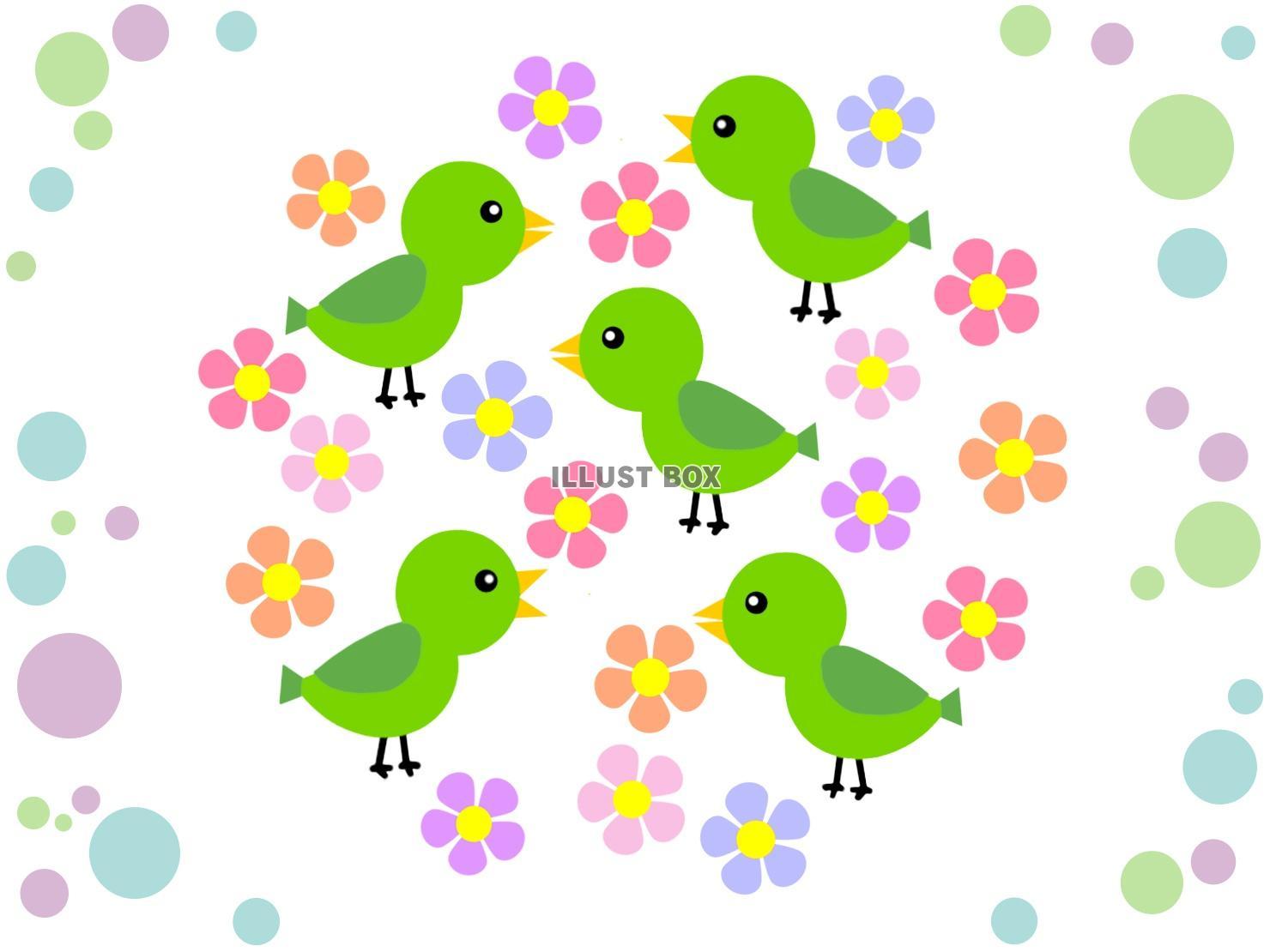 無料イラスト 小鳥と花模様の背景イラスト可愛い壁紙素材