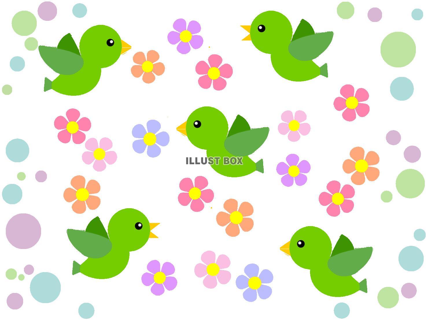 無料イラスト 小鳥と花模様の背景イラスト可愛い壁紙素材 透過png