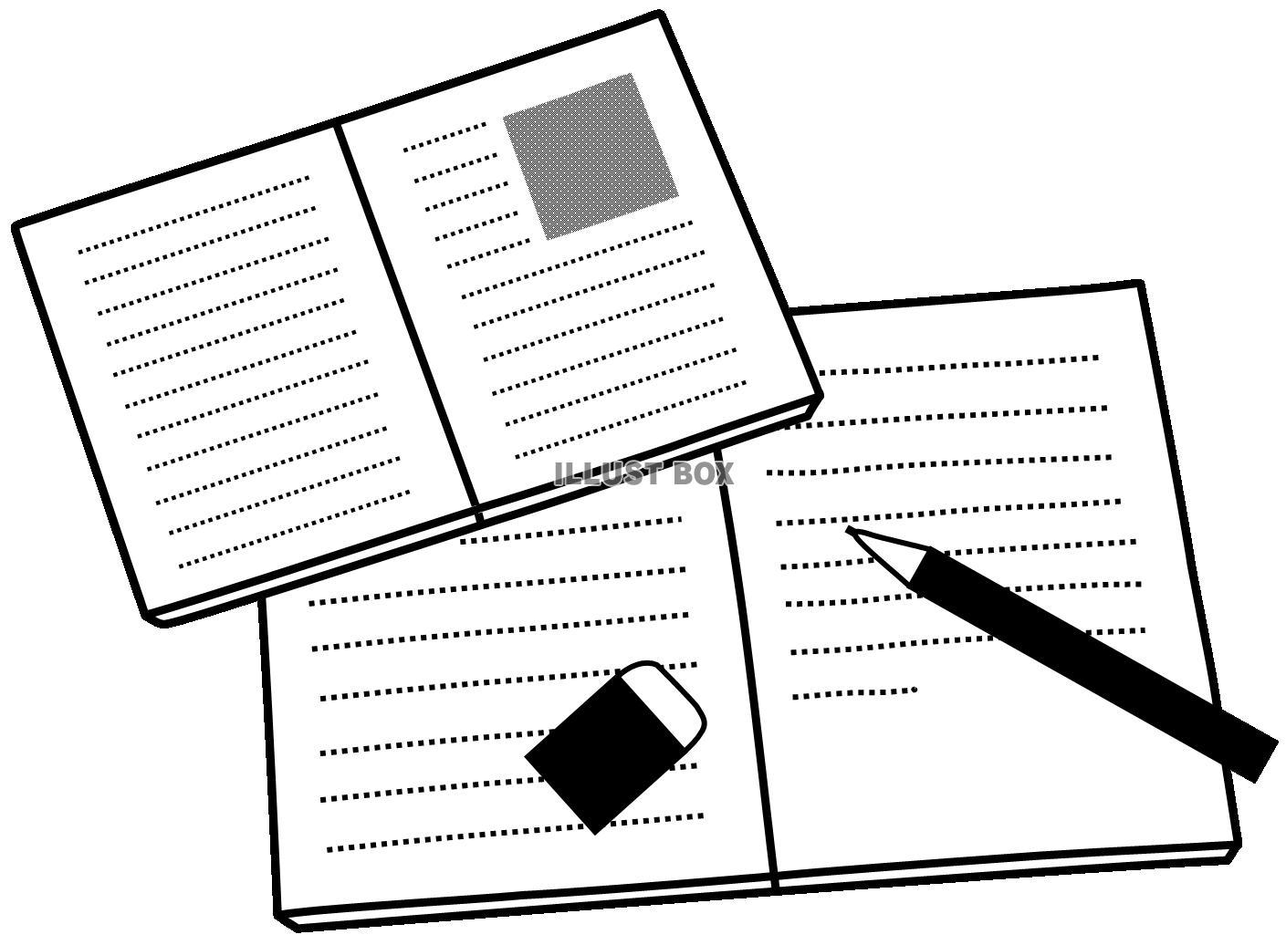 無料イラスト ノートと教科書と文房具3勉強受験授業参考書白黒