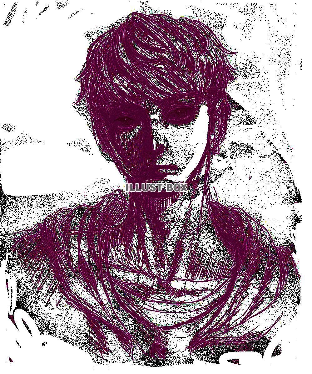 無料イラスト ピアスをつけたハンサムな男性鉛筆画