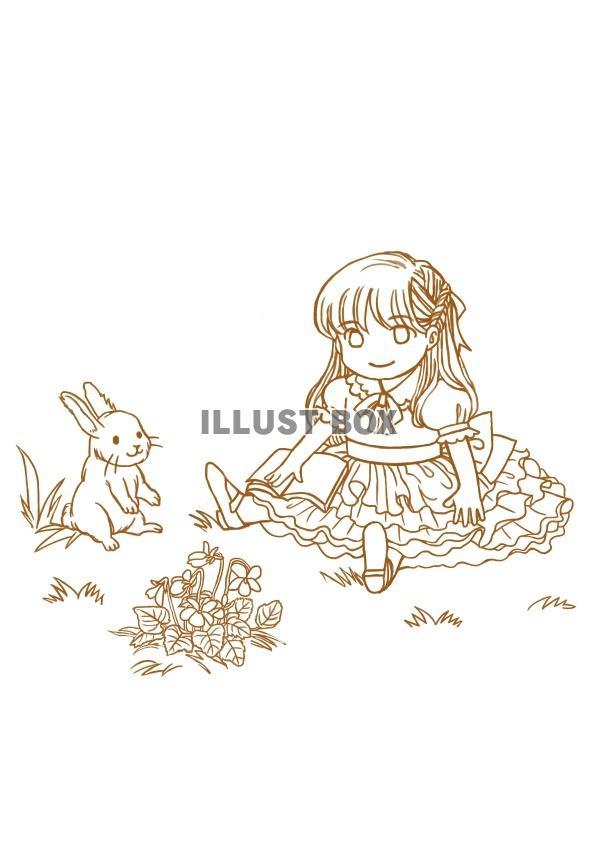 無料イラスト 森の女の子ぬりえjpeg