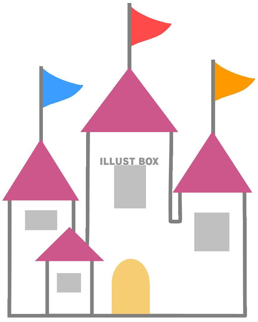 無料イラスト 西洋の中世のお城2建物外国塔旗