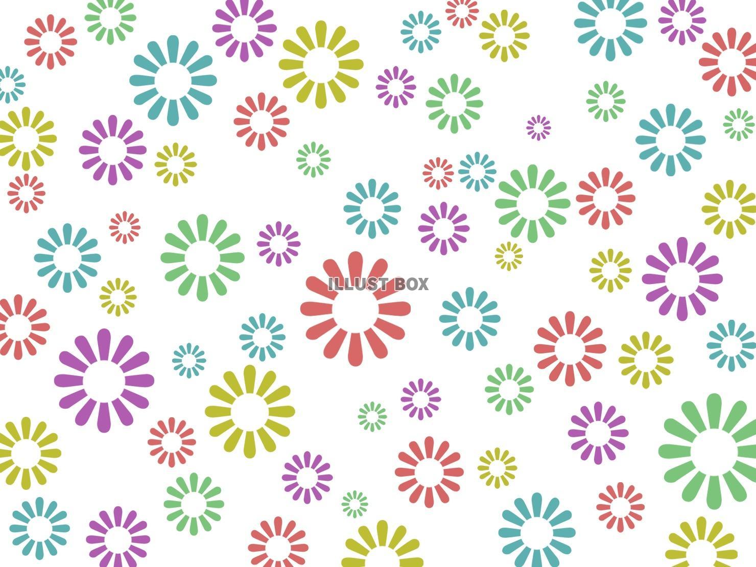 無料イラスト 花模様の壁紙カラフル柄の背景イラスト素材