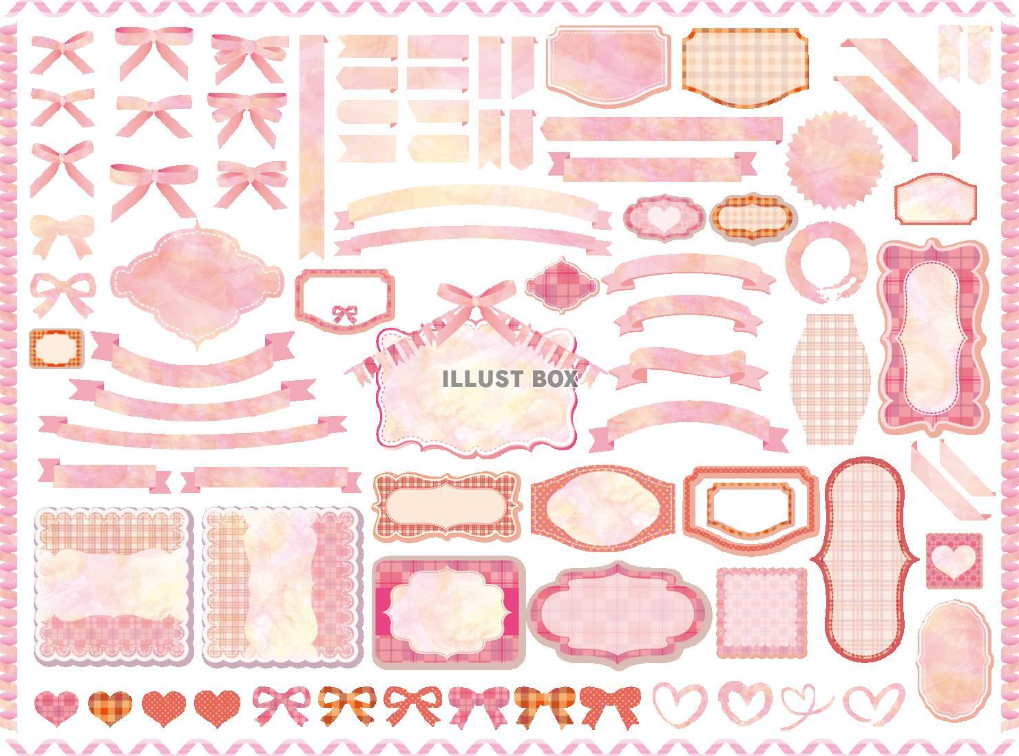 無料イラスト リボン,フレーム,水彩,手書き,背景,枠,ピンク,イラスト,