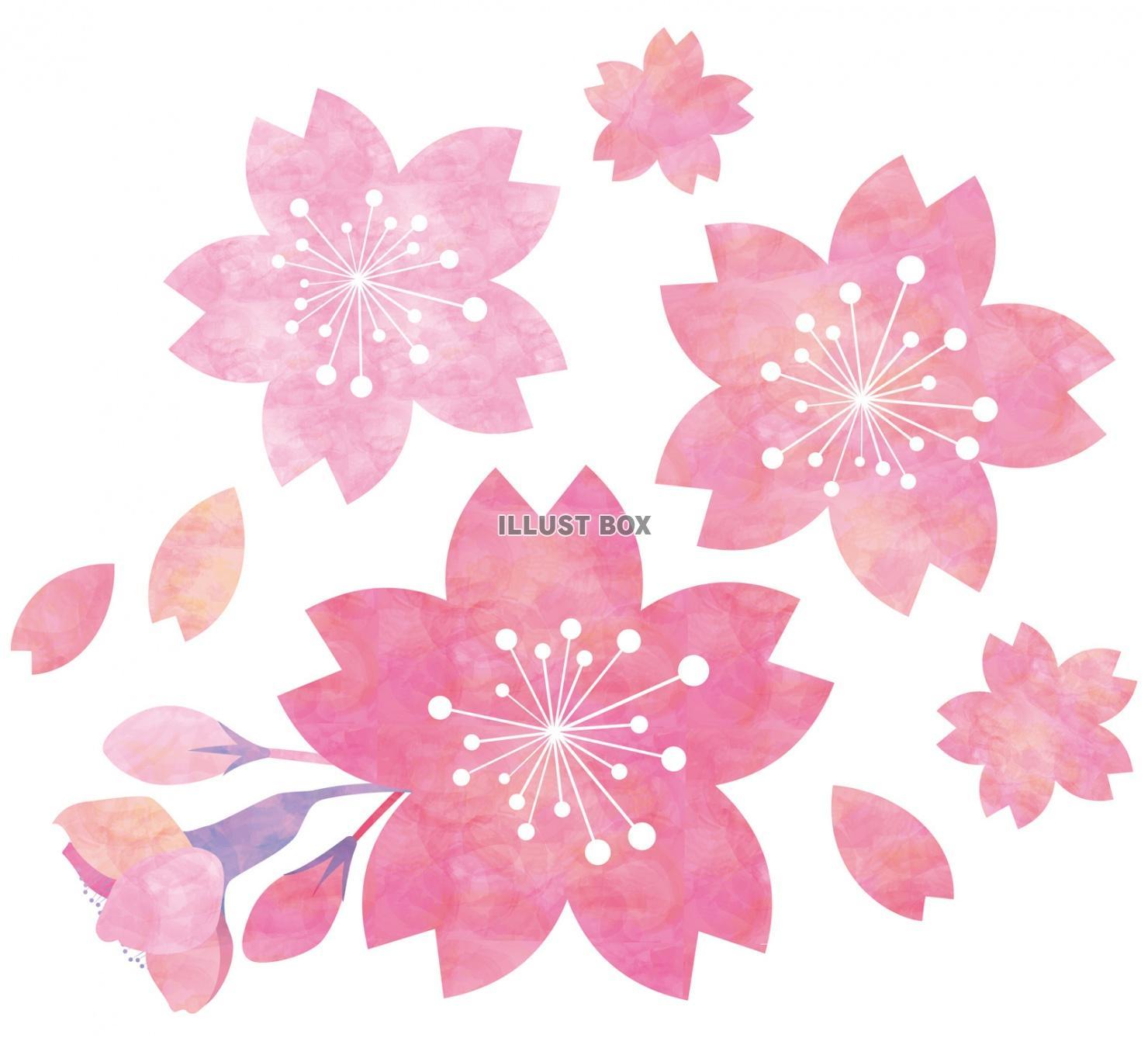無料イラスト 桜花水彩手書きイラスト春手描き和アイコン和
