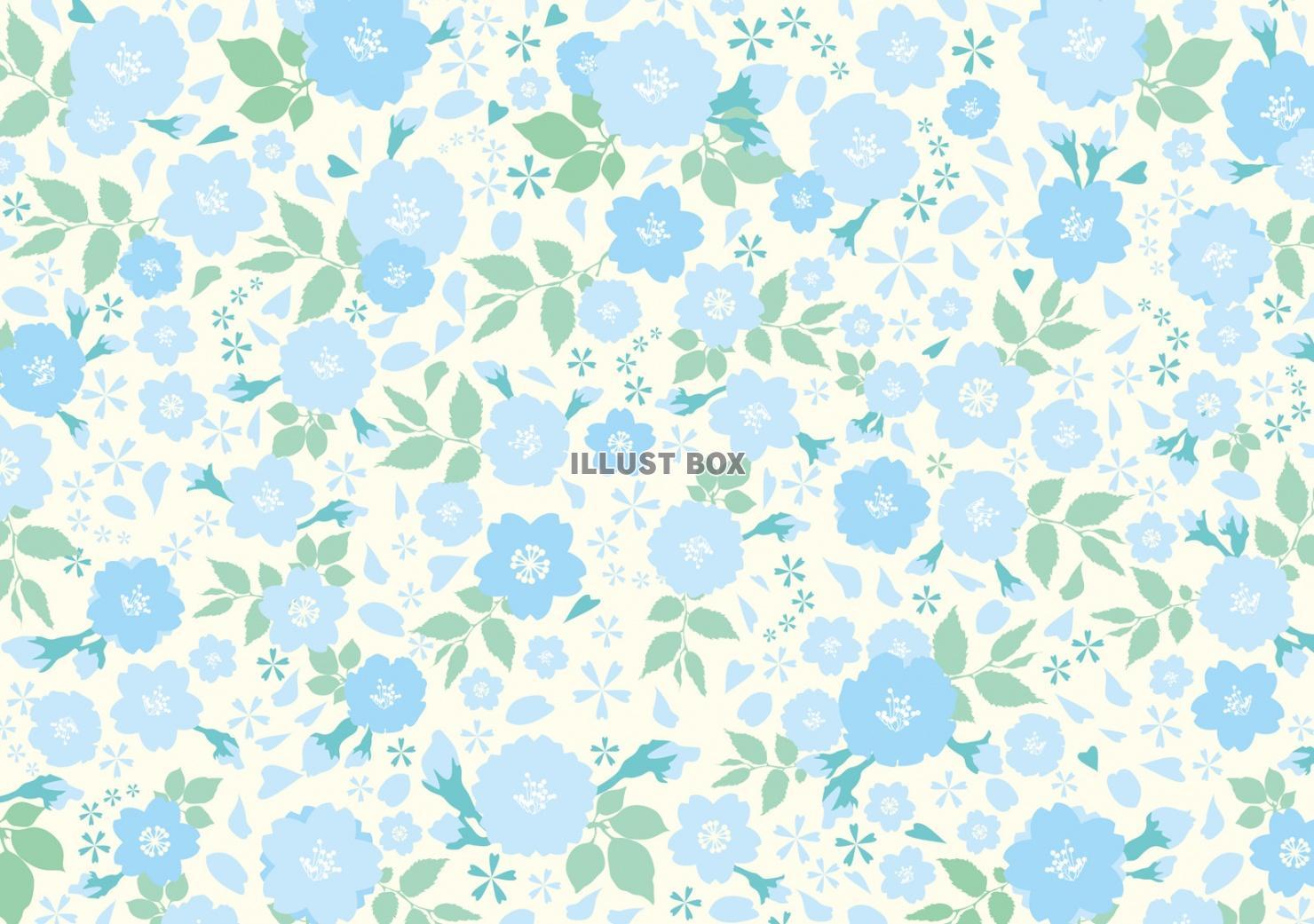 無料イラスト 花 植物 背景 壁紙 春 初夏 夏 青 水色 花柄 緑 3月