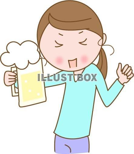無料イラスト お酒を飲む女性