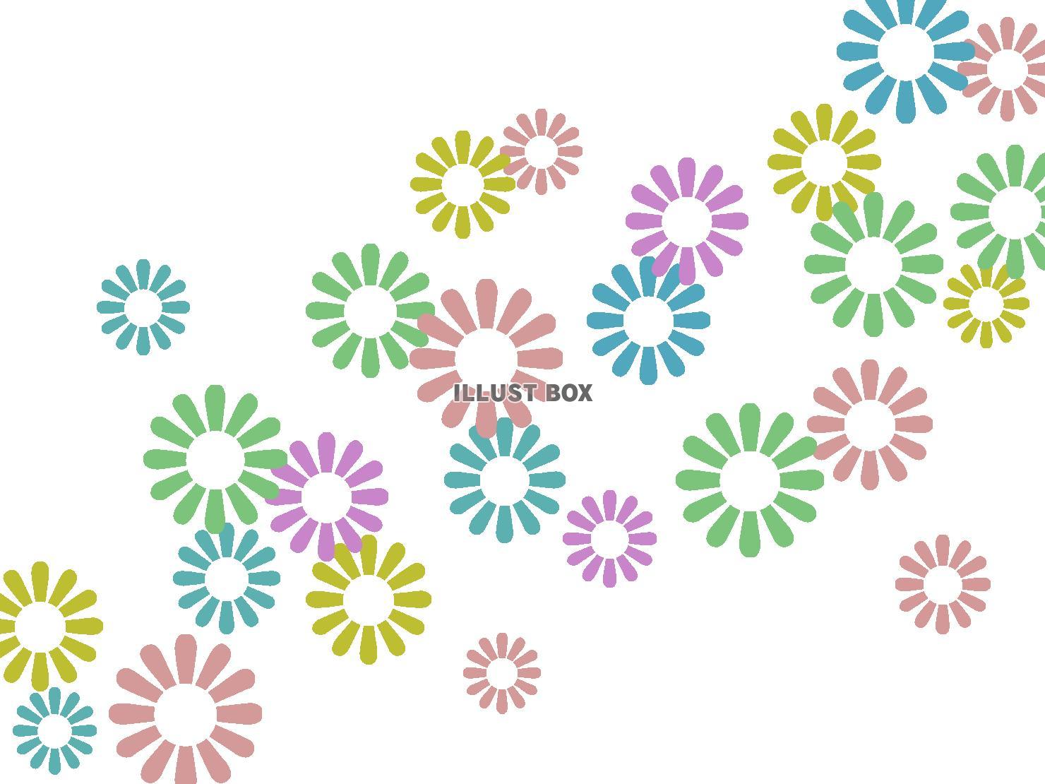 無料イラスト 花模様の壁紙カラフル柄の背景イラスト素材、透過png