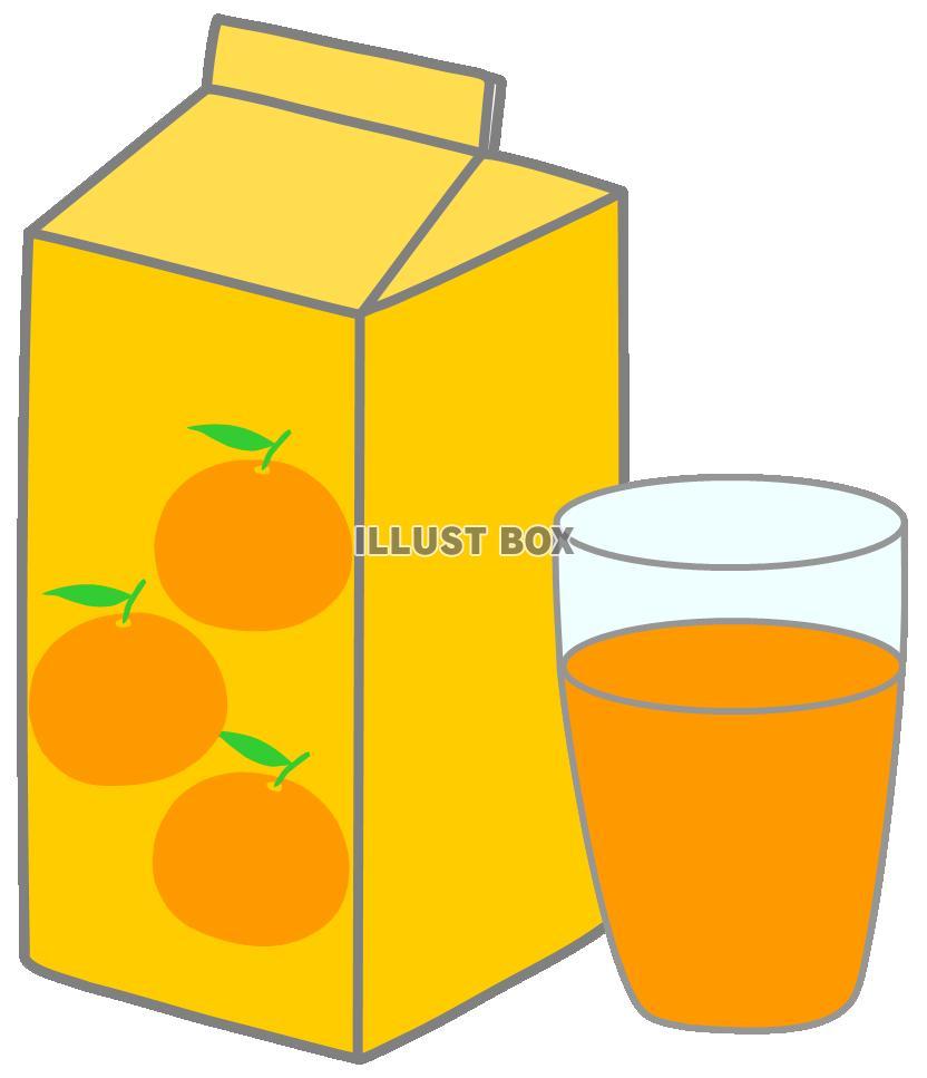 無料イラスト オレンジジュース紙パックコップ飲み物飲料夏