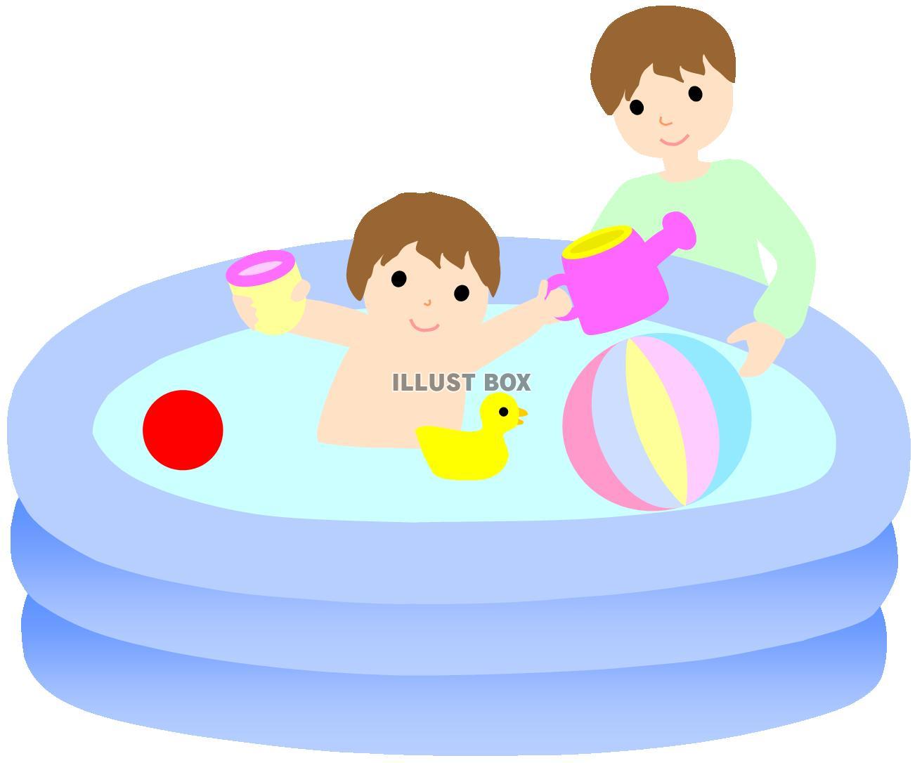無料イラスト ビニールプール5夏おかあさん子供幼児水遊び