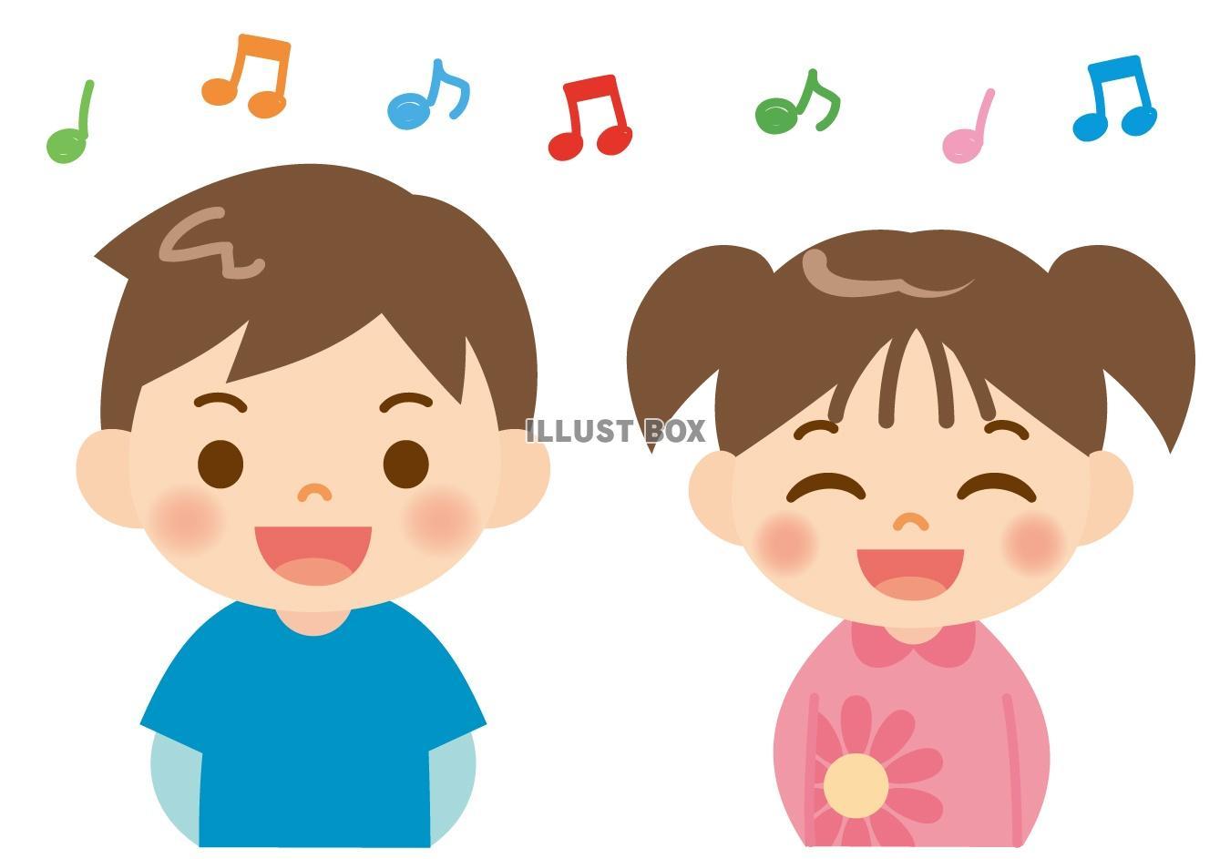 無料イラスト 歌を歌う子供