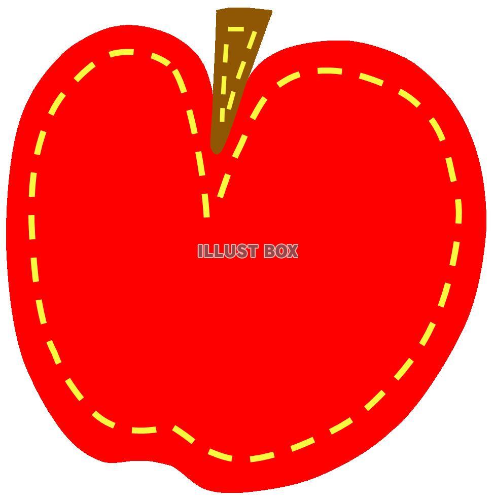 無料イラスト フエルトワッペン風のりんご(縫い目ステッチ 手芸 リンゴ)