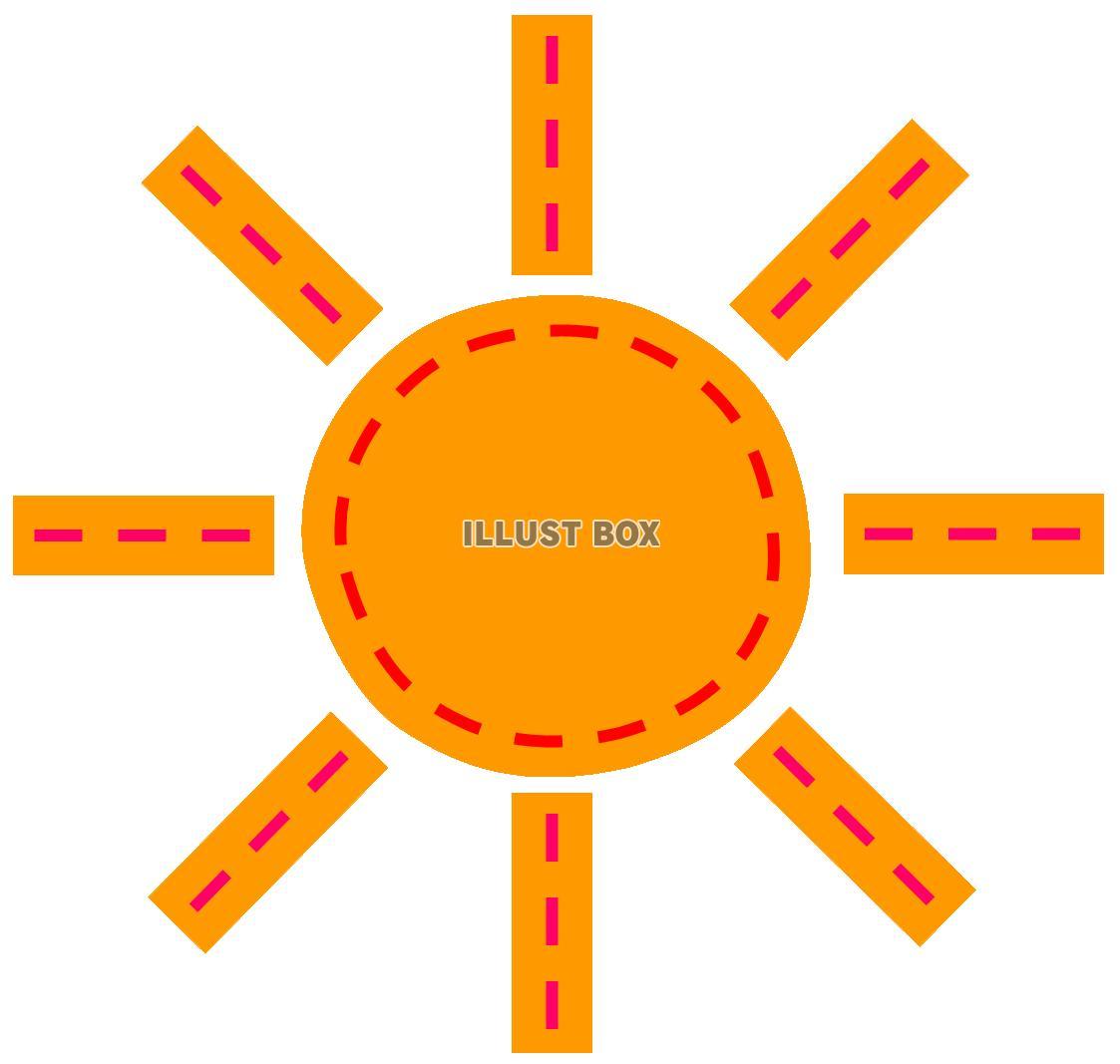 無料イラスト フエルトワッペン風のおひさま縫い目ステッチ 手芸 太陽
