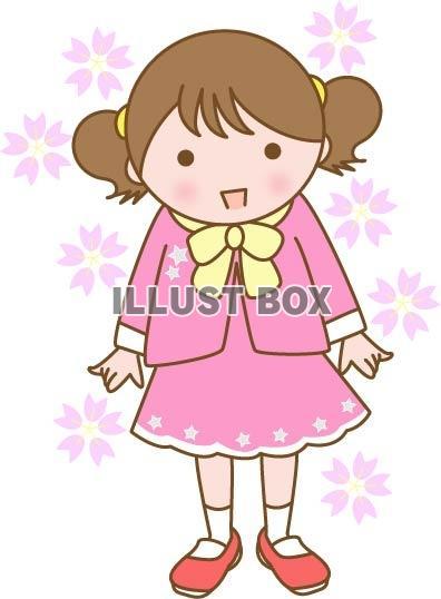 無料イラスト 桜の花と女の子