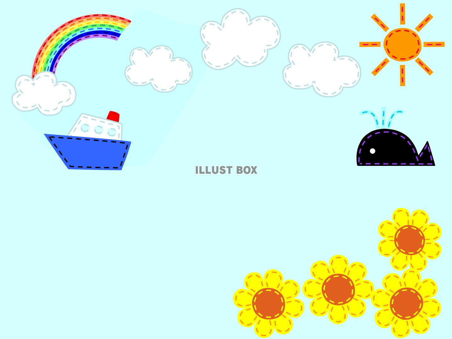 無料イラスト フエルト風の夏の風景縫い目ステッチ 手芸 船 くじら ひま