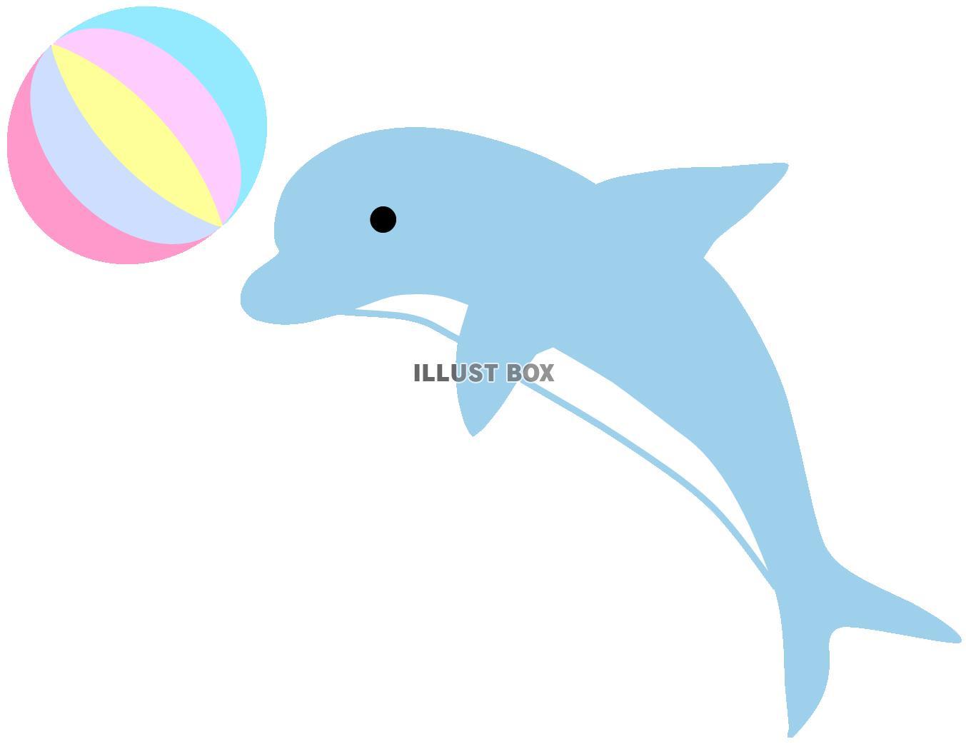 無料イラスト ジャンプするイルカとボール海の動物生き物水族館