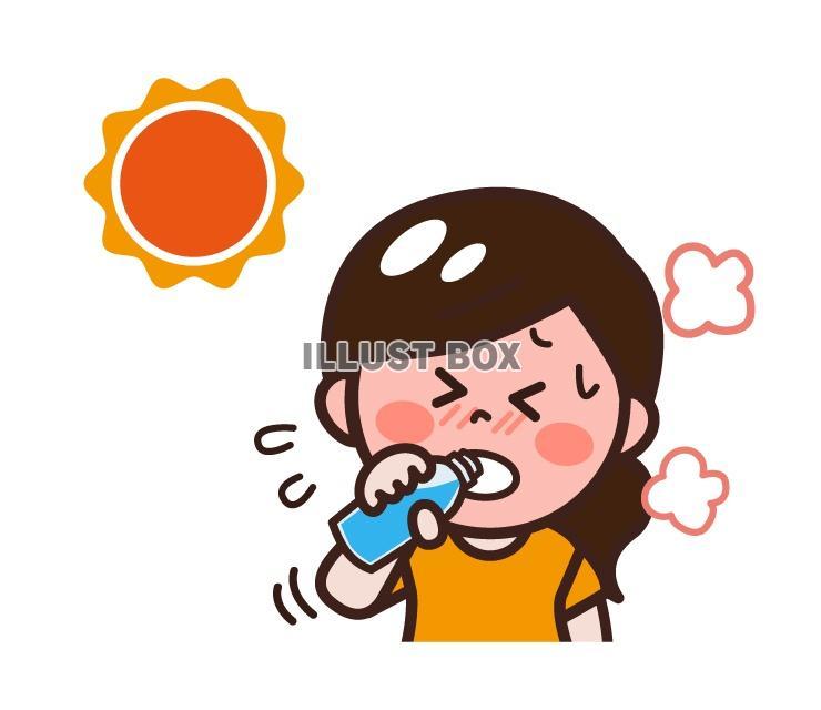 無料イラスト 真夏の炎天下の下水分補給する女性熱中症対策