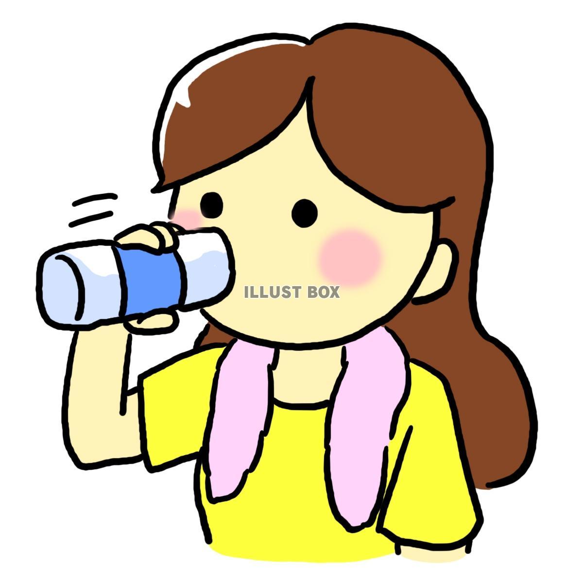 無料イラスト 水を飲む