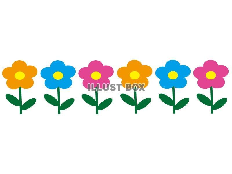 無料イラスト かわいい花のイラストライン