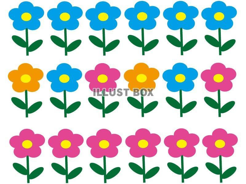 無料イラスト かわいい花のイラストラインセット