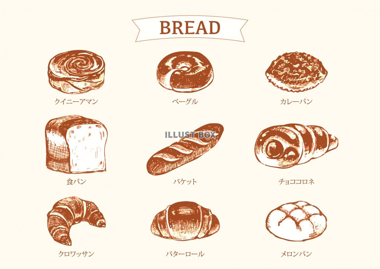 無料イラスト パンのスケッチイラスト