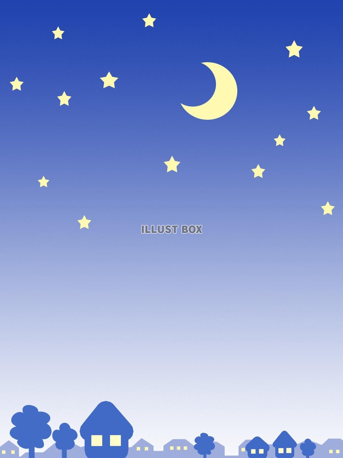 無料イラスト 夜景シルエット壁紙 星空イラスト背景素材