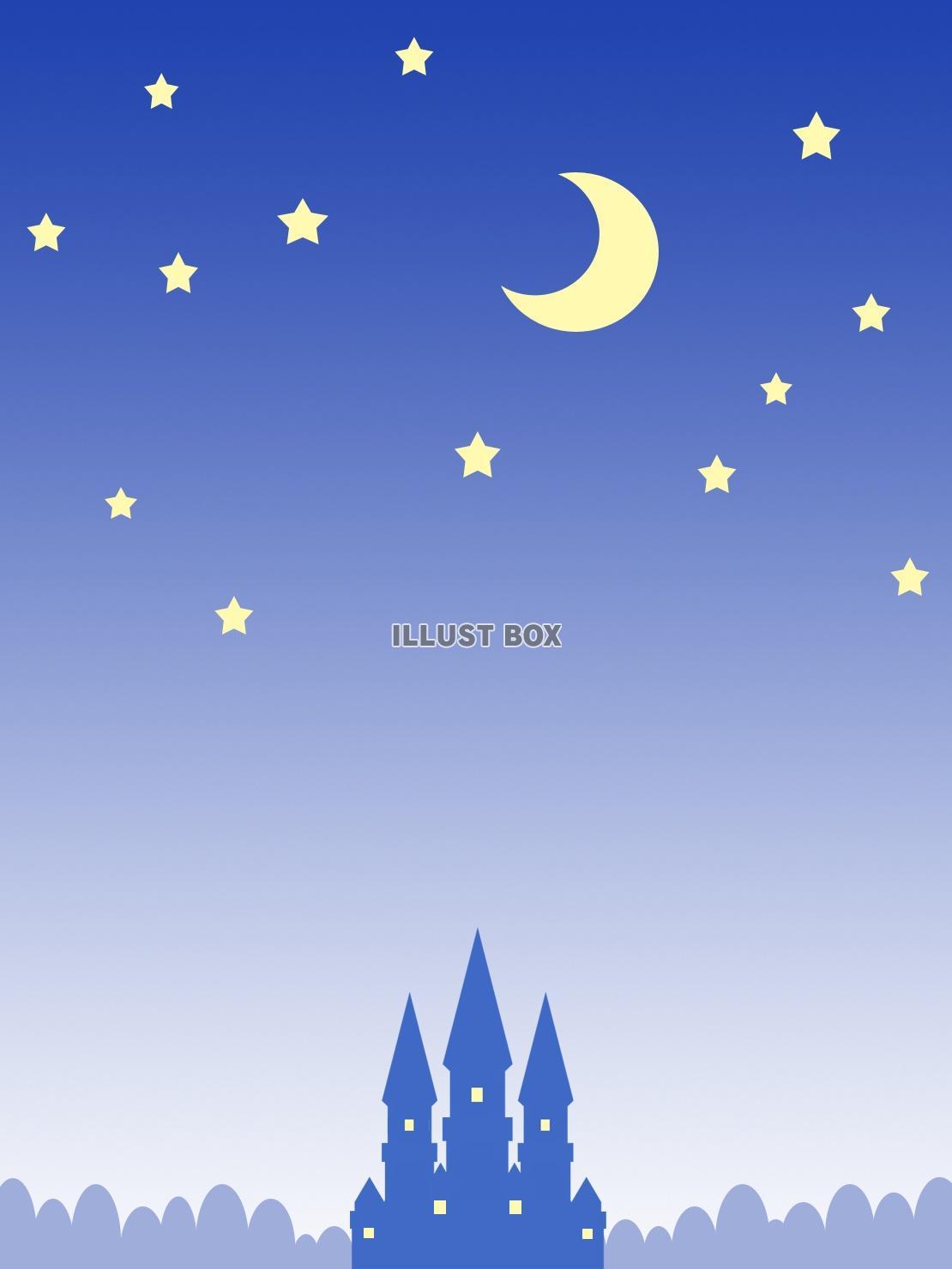 無料イラスト 夜景シルエット壁紙、星空イラスト背景素材