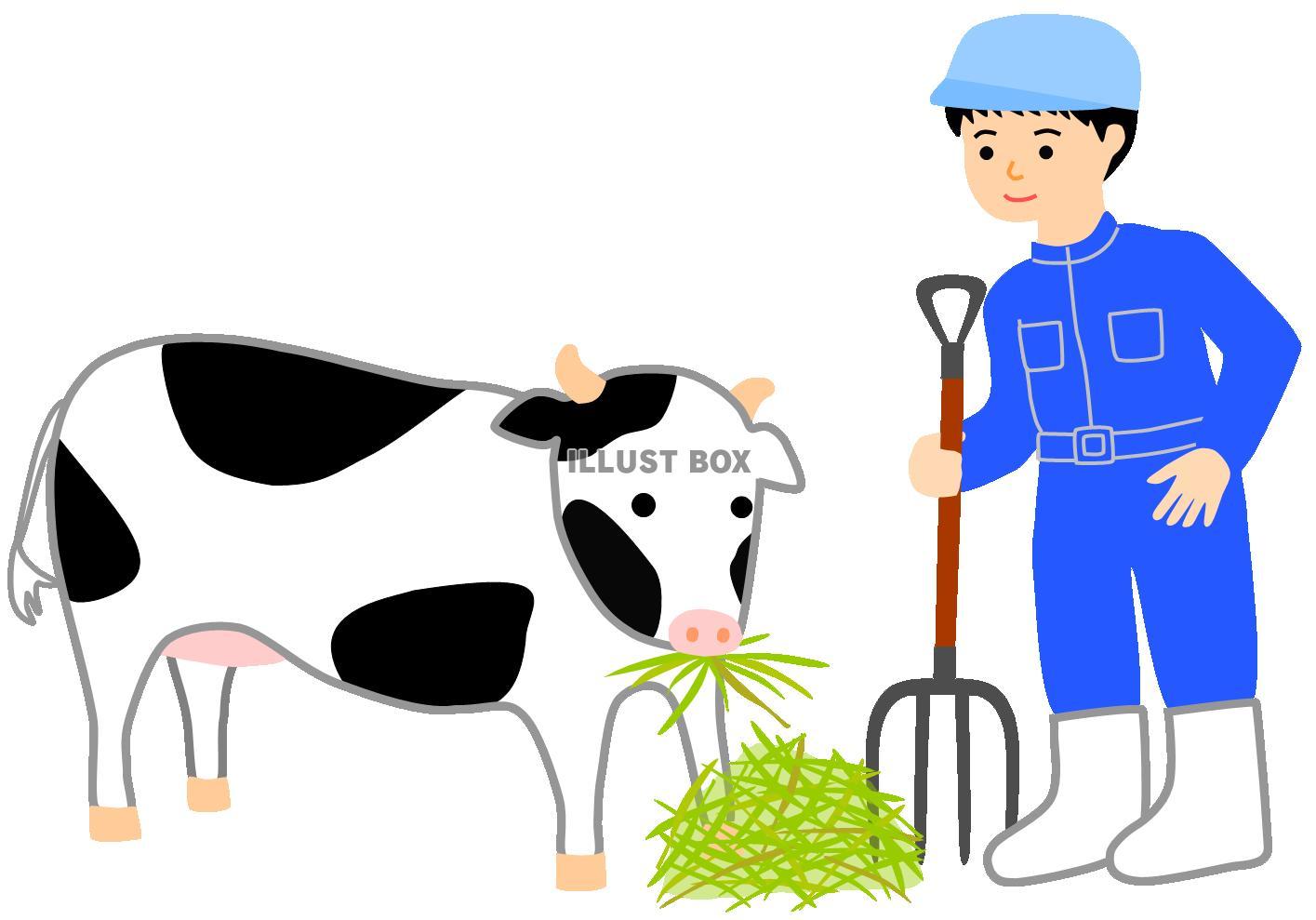無料イラスト 酪農家と牛畜産餌やりホルスタインフォークうし