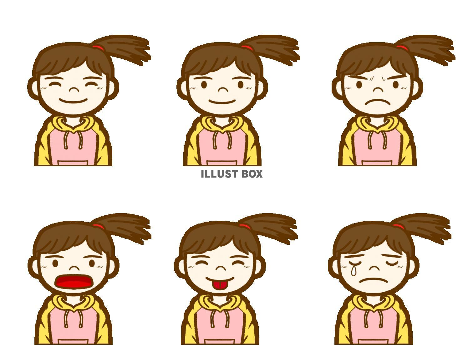 無料イラスト 女の子の顔表情集