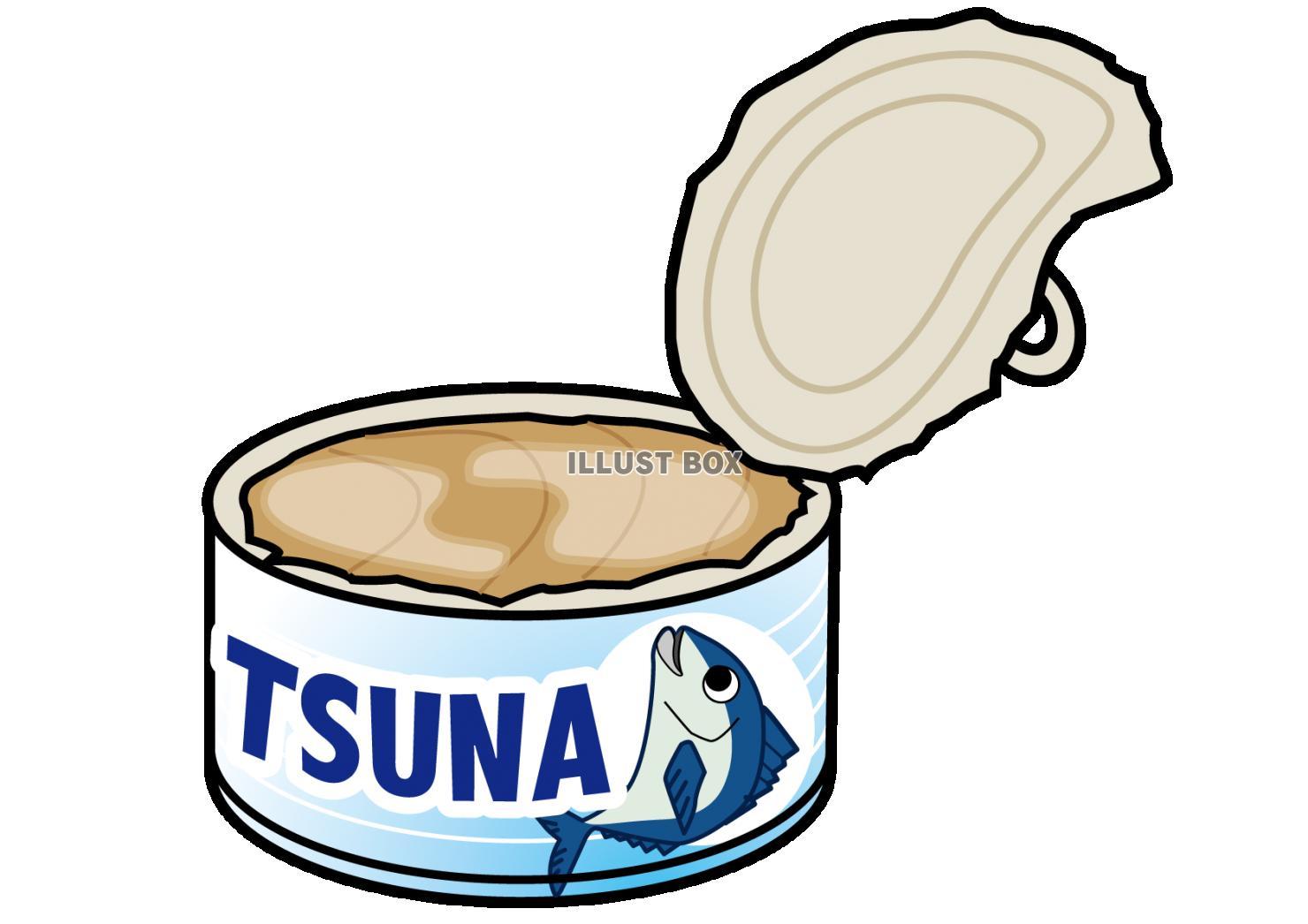 無料イラスト ふたの空いたツナ缶